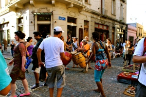 Drums and dancing at the Sunday market